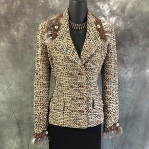 NEW ST JOHN couture knit brown beige tan jacket 2